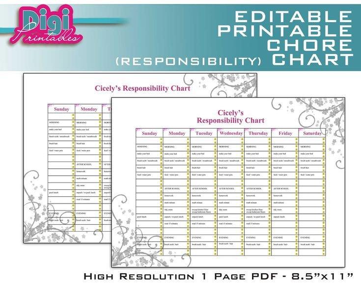 Family Chore Chart Printable Editable Printable Chore Chart Responsibility Chart 8