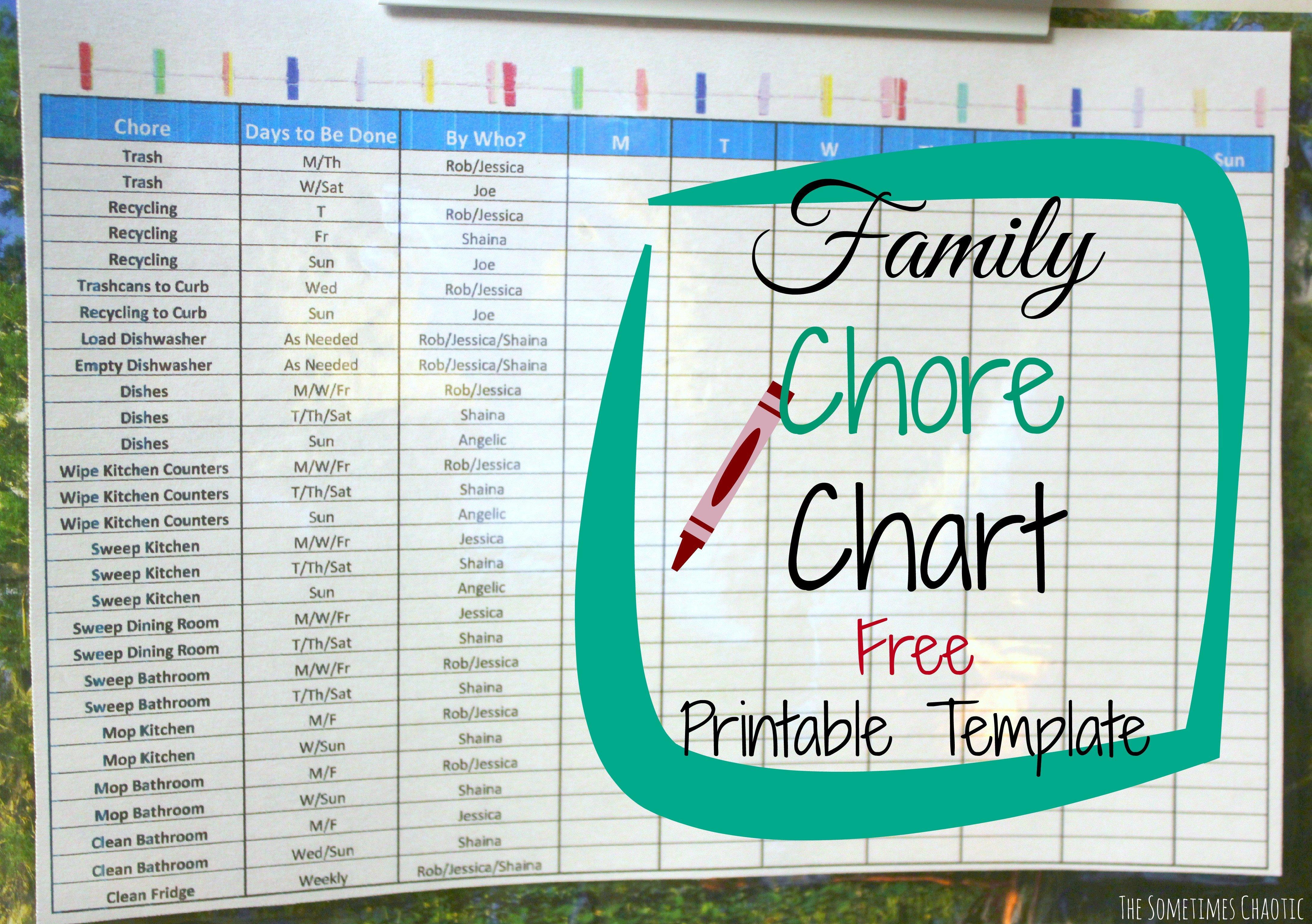 Family Chore Chart Printable Family Chore Chart Printable