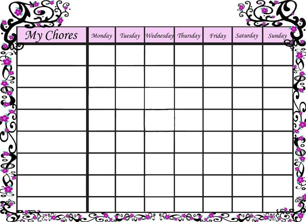 Family Chore Chart Printable Free Blank Chore Charts Templates