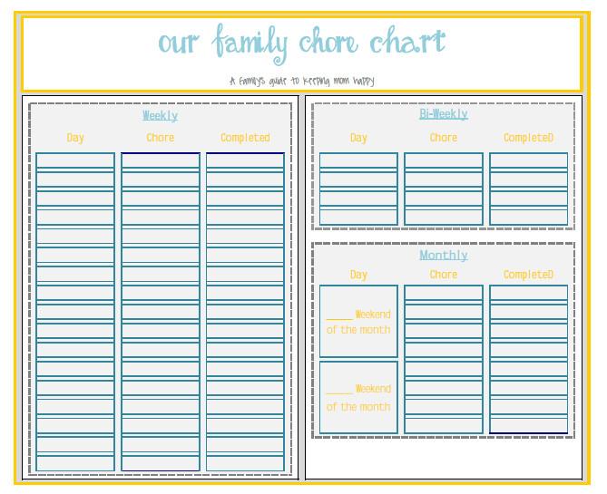 Family Chore Chart Printable Free Printable Pdf or Free Xcel Editable Chore