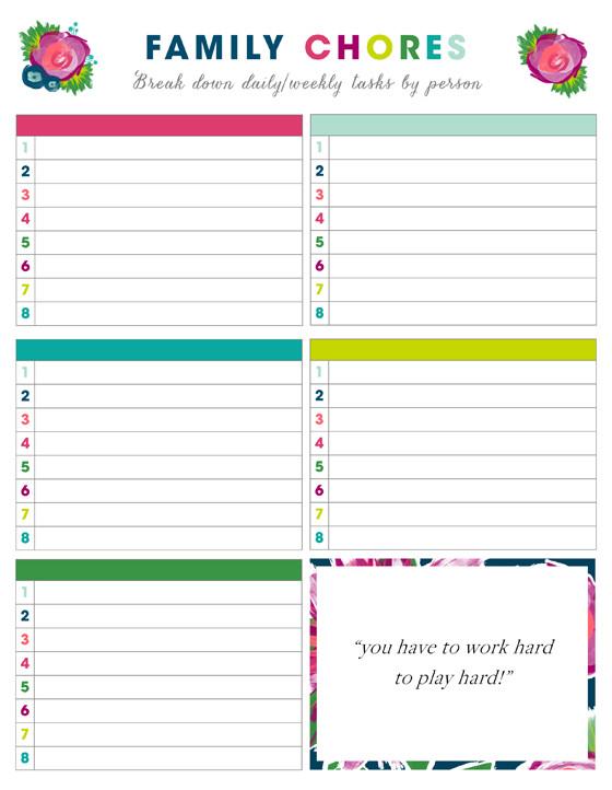 Family Chore Chart Printable Free Printable Weekly Chore Charts