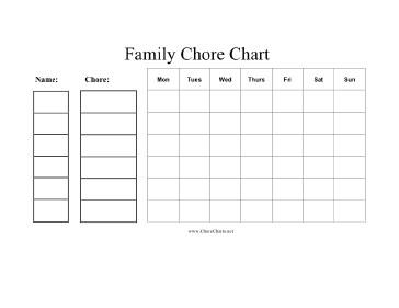 Family Chore Chart Printable Printable Family Chore Chart