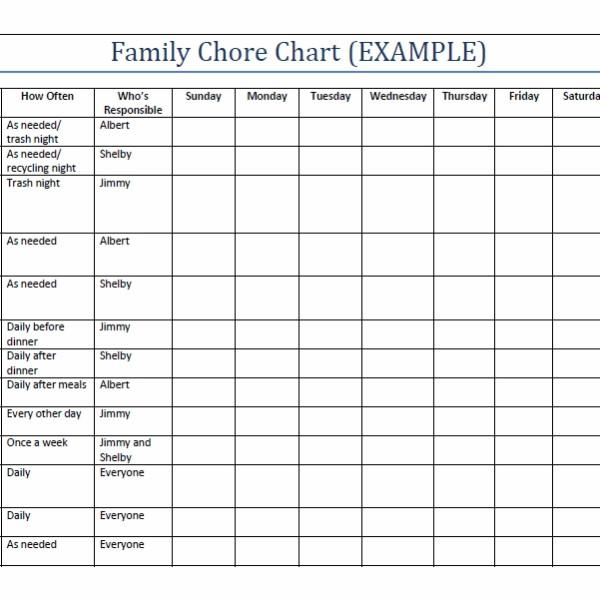 Family Chore Chart Template Household Chore