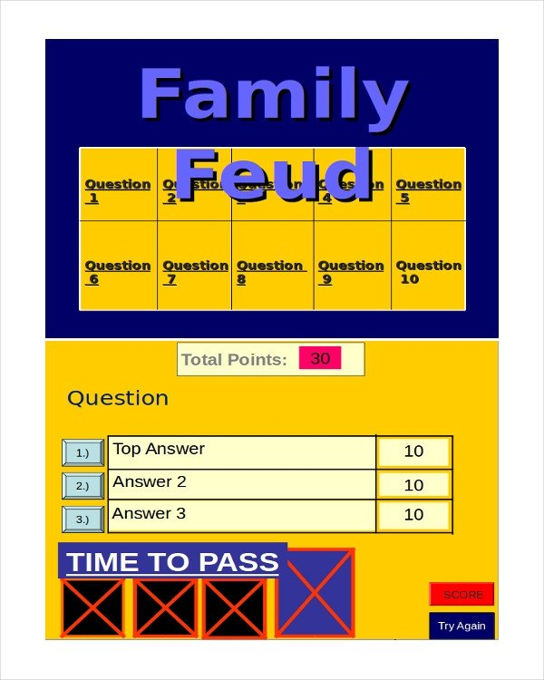 Family Feud Template Ppt 30 Powerpoint Templates Free Sample Example format