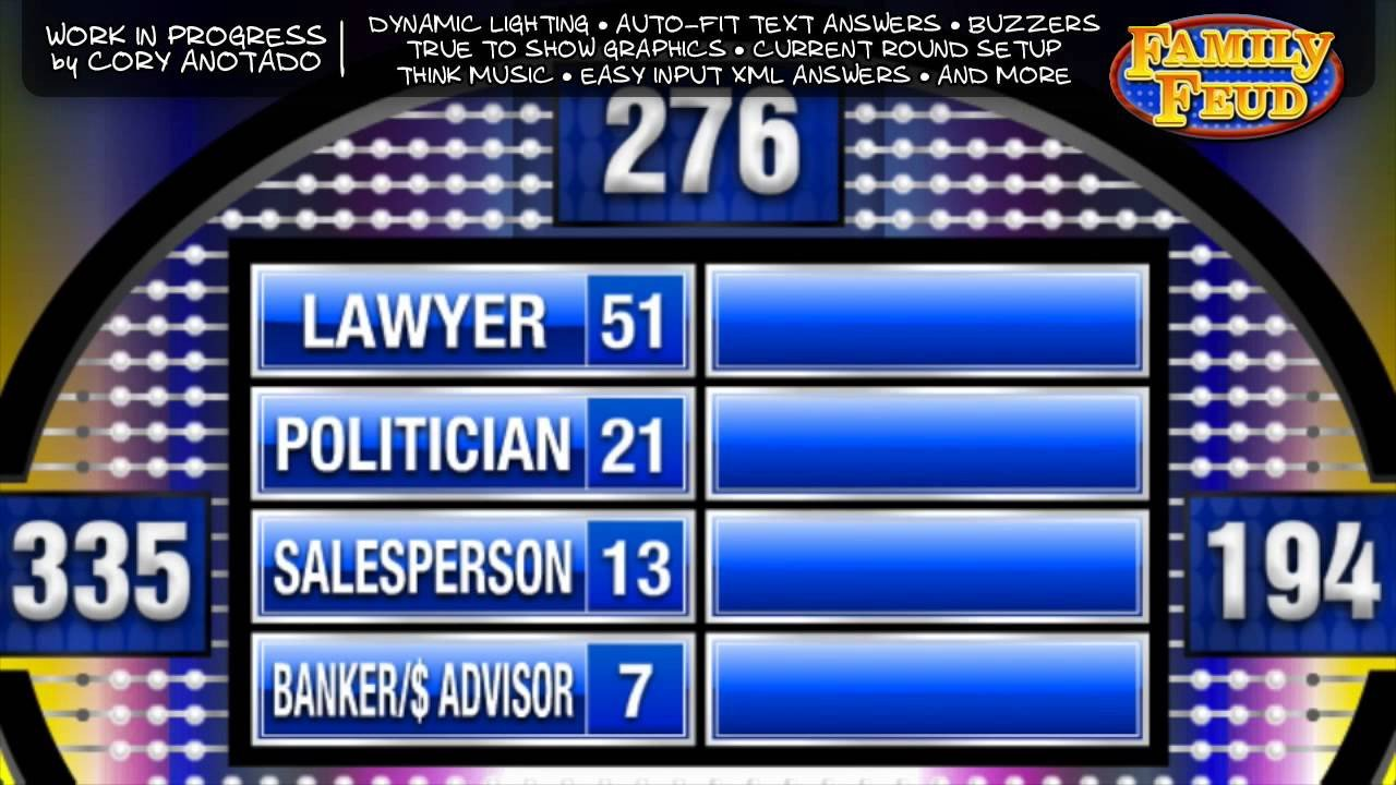 Family Feud Template Ppt Family Feud Presentation software Wip