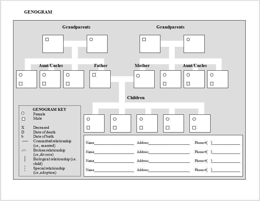 Family Genogram Template Word 8 Free Genogram Diagram Templates Ms Word Templateshub