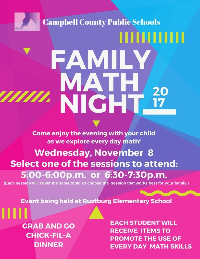 Family Math Night Flyers Ccps Hosts Elementary Family Math Night Campbell County