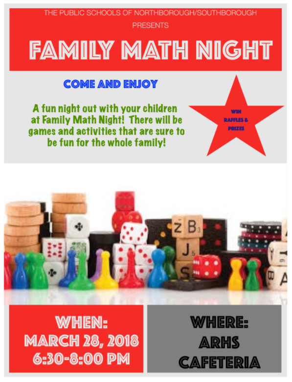 Family Math Night Flyers Family Math Night – March 28