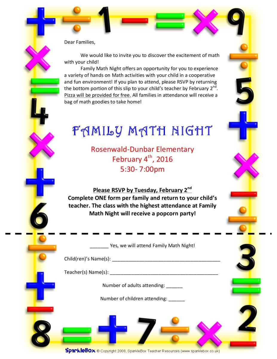 Family Math Night Flyers Jessamine County Schools