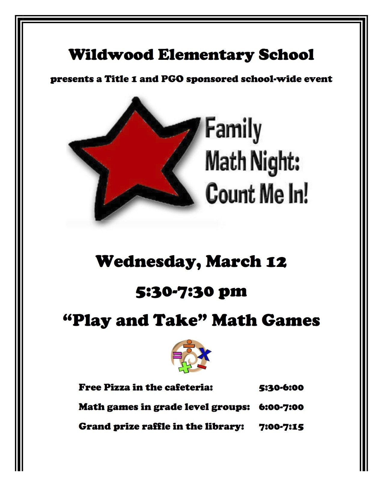 Family Math Night Flyers Wildwood Family Math Night – March 12