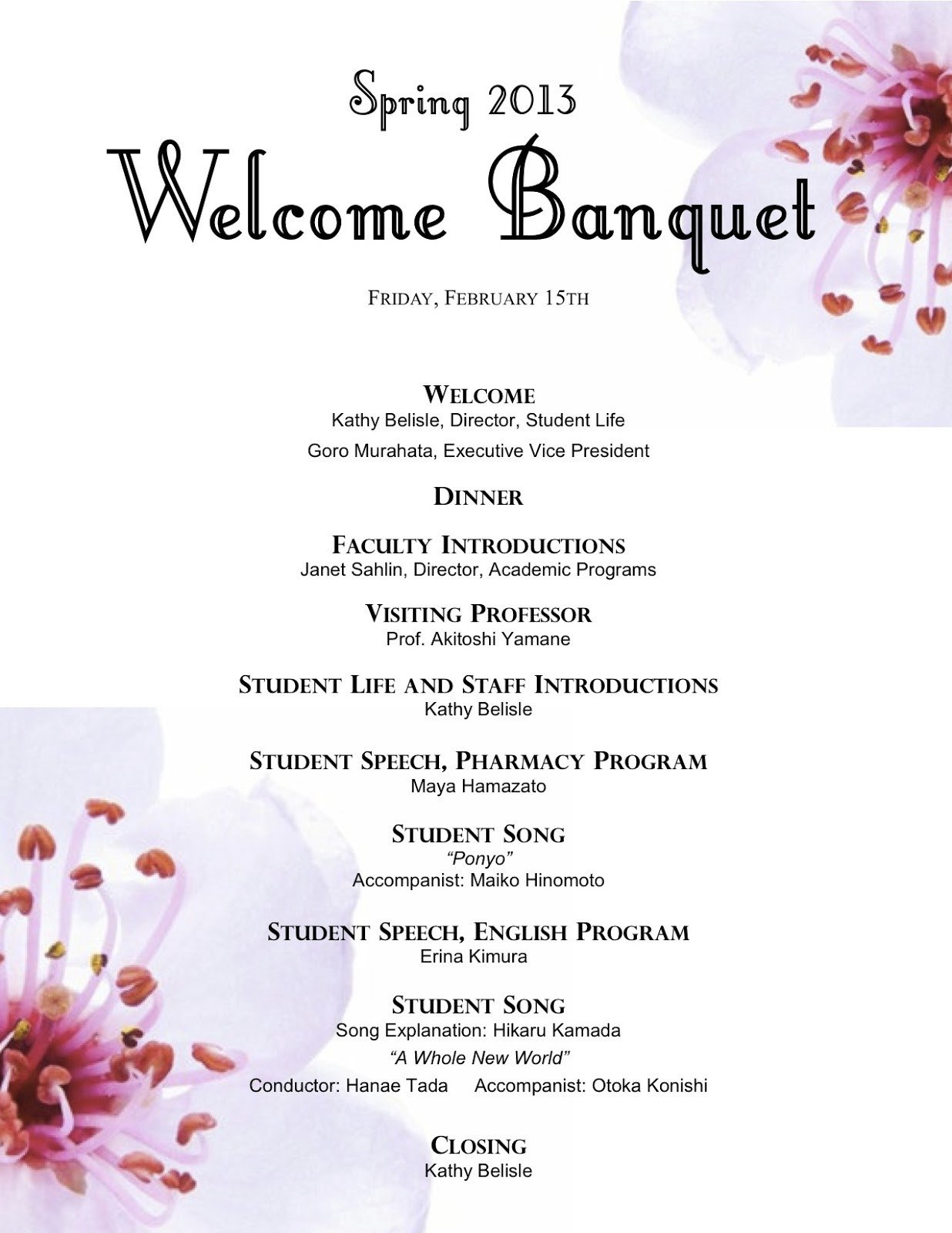 Family Reunion Banquet Program Sample Cheerful Wel E Banquet 2
