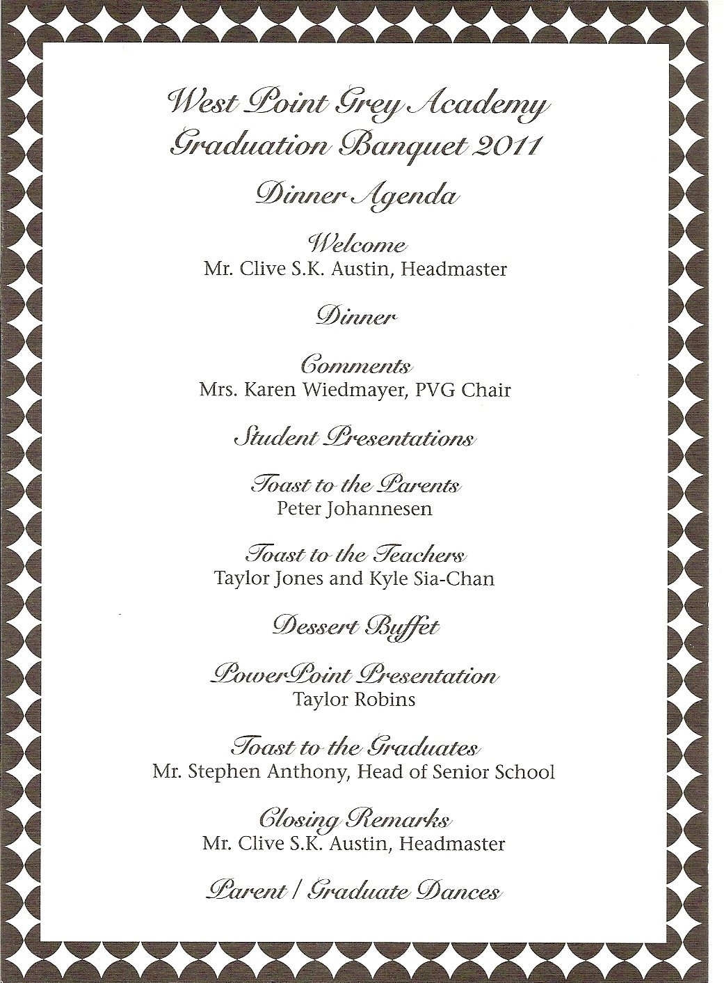 Family Reunion Banquet Program Sample Donna S Report Wpga Graduation Banquet Teddy