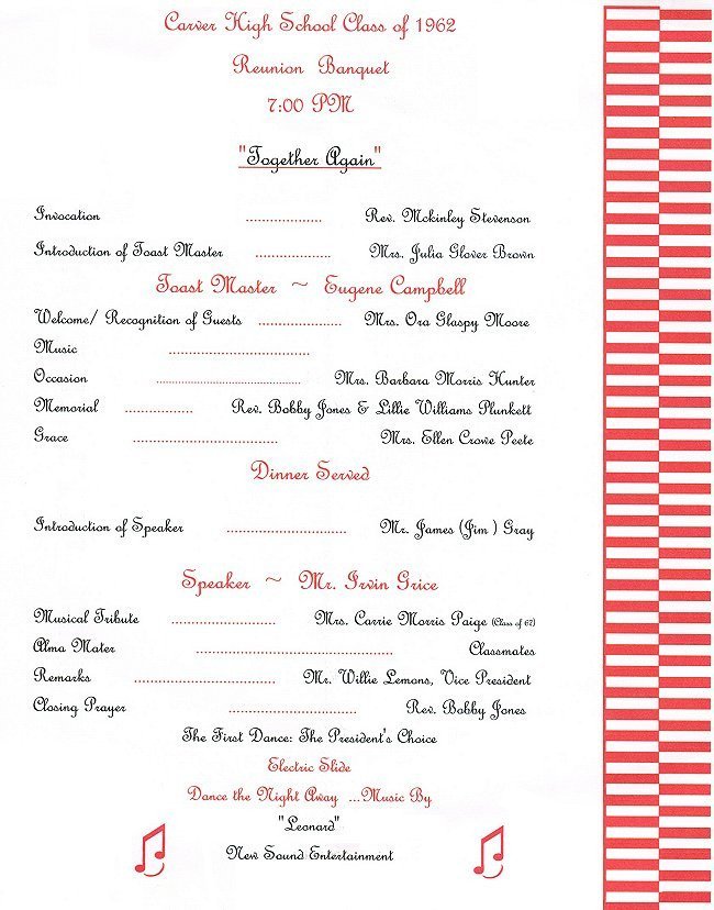 Family Reunion Banquet Program Sample Gwc Hs Class Of 1962 2007 Reunion