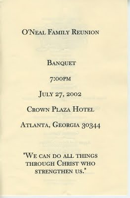 Family Reunion Banquet Program Sample Previous O Neal Family Reunion Banquet Programs O Neal