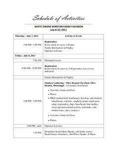 Family Reunion Banquet Program Sample Sample Family Reunion Program Templates