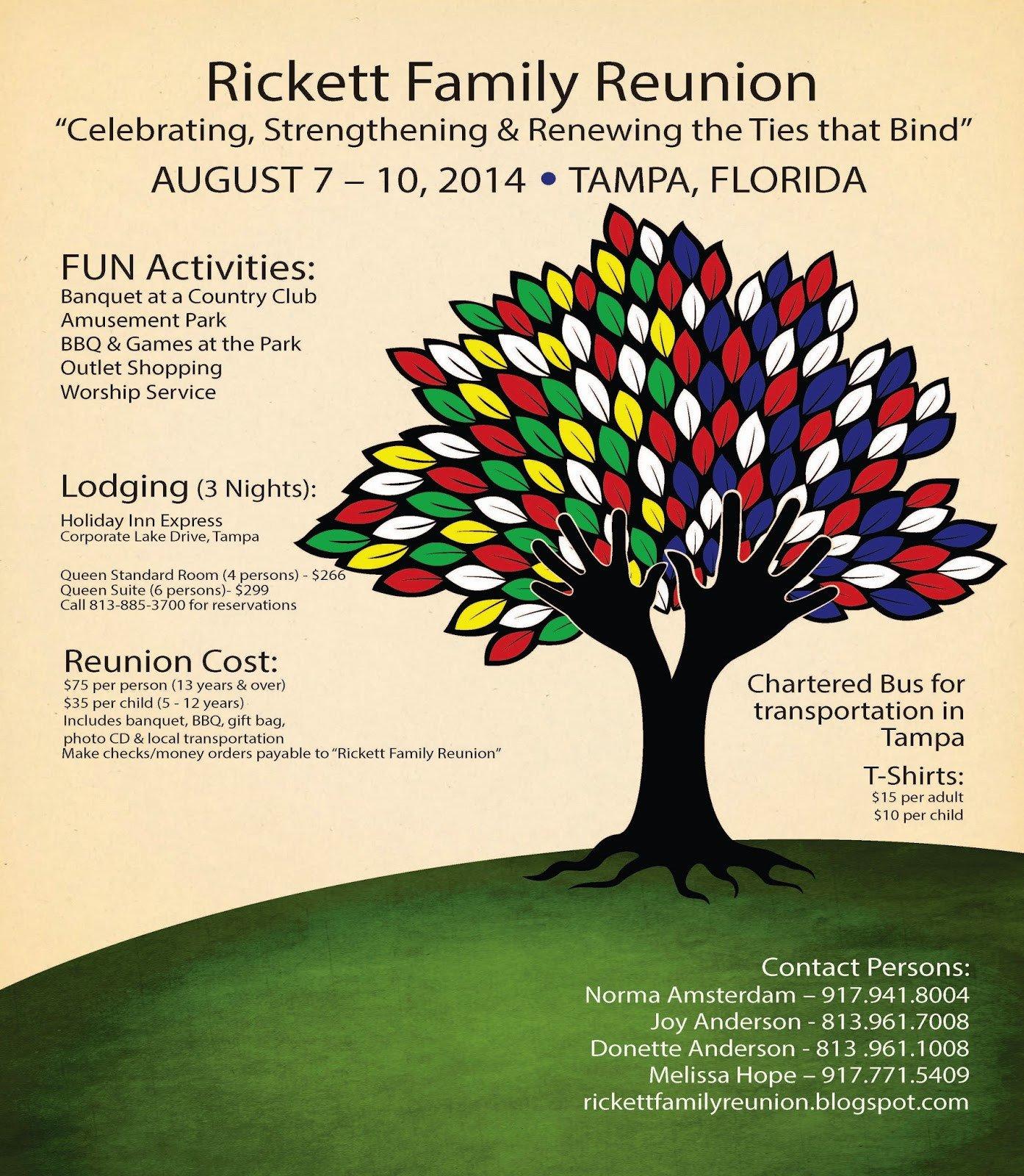 Family Reunion Flyer Templates Rickett Family Reunion Blog