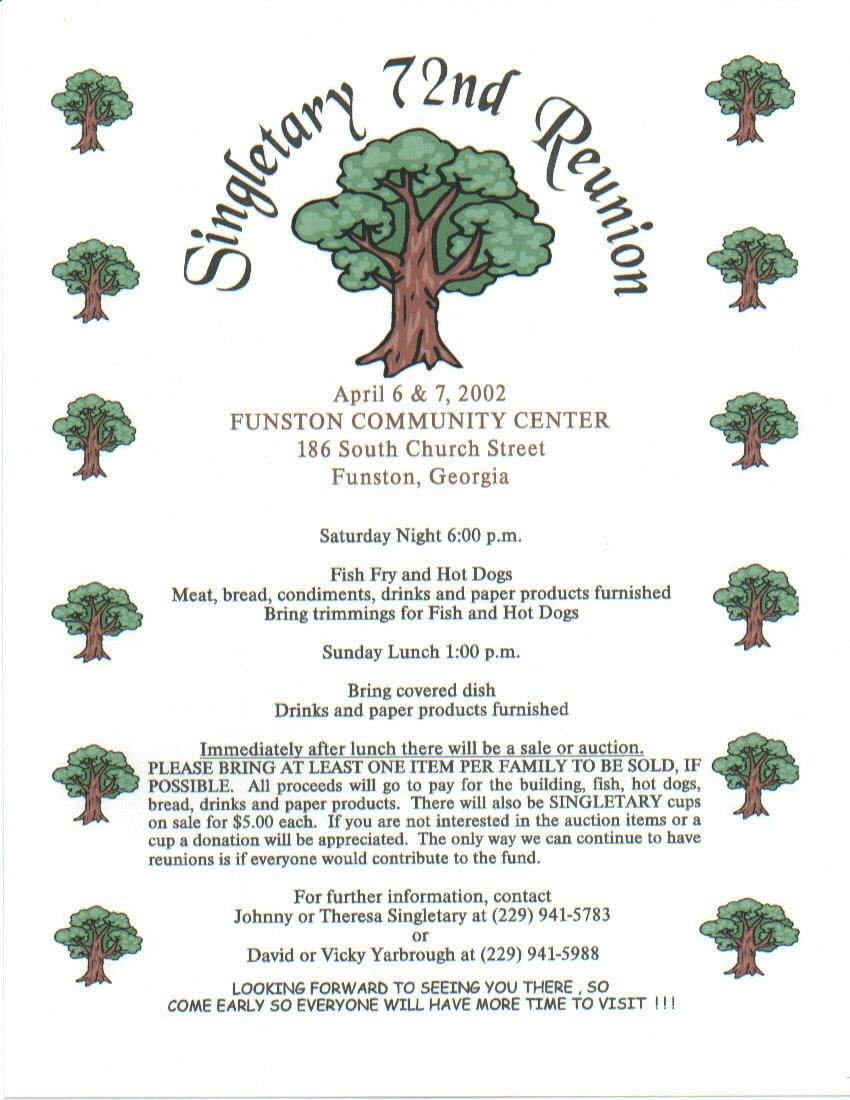 Family Reunion Flyer Templates Singletary Family