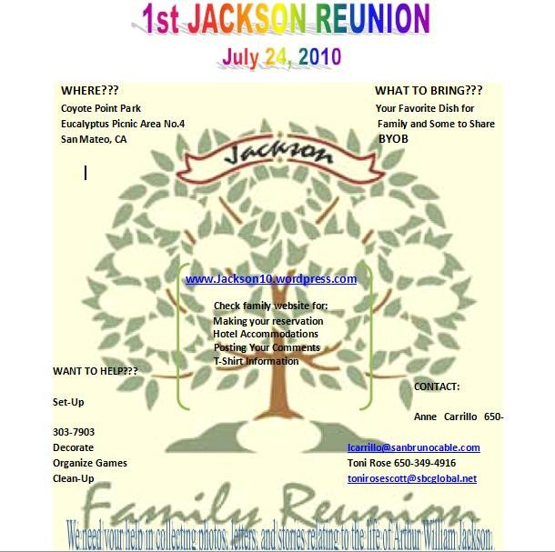 Family Reunion Flyer Templates the Jackson Family S 2010 Reunion Webpage
