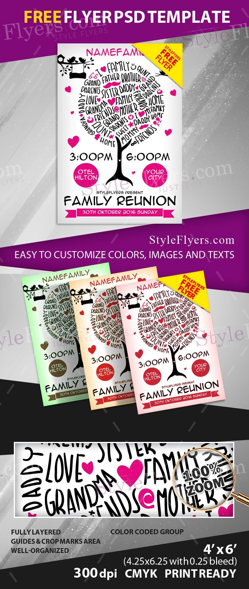 Family Reunion Flyers Templates Family Reunion Free Psd Flyer Template Free Download