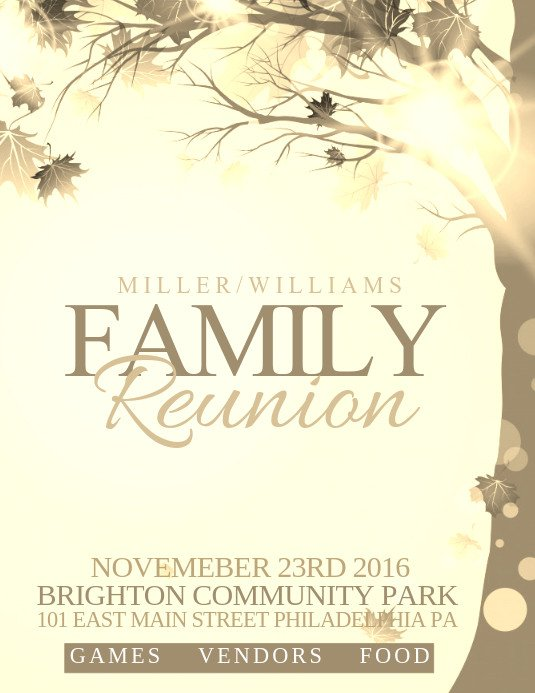 Family Reunion Flyers Templates Family Reunion Template