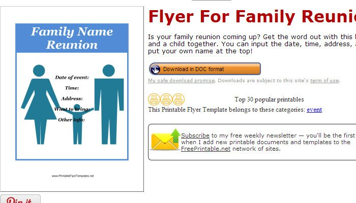 Family Reunion Flyers Templates Flyers Af Templates