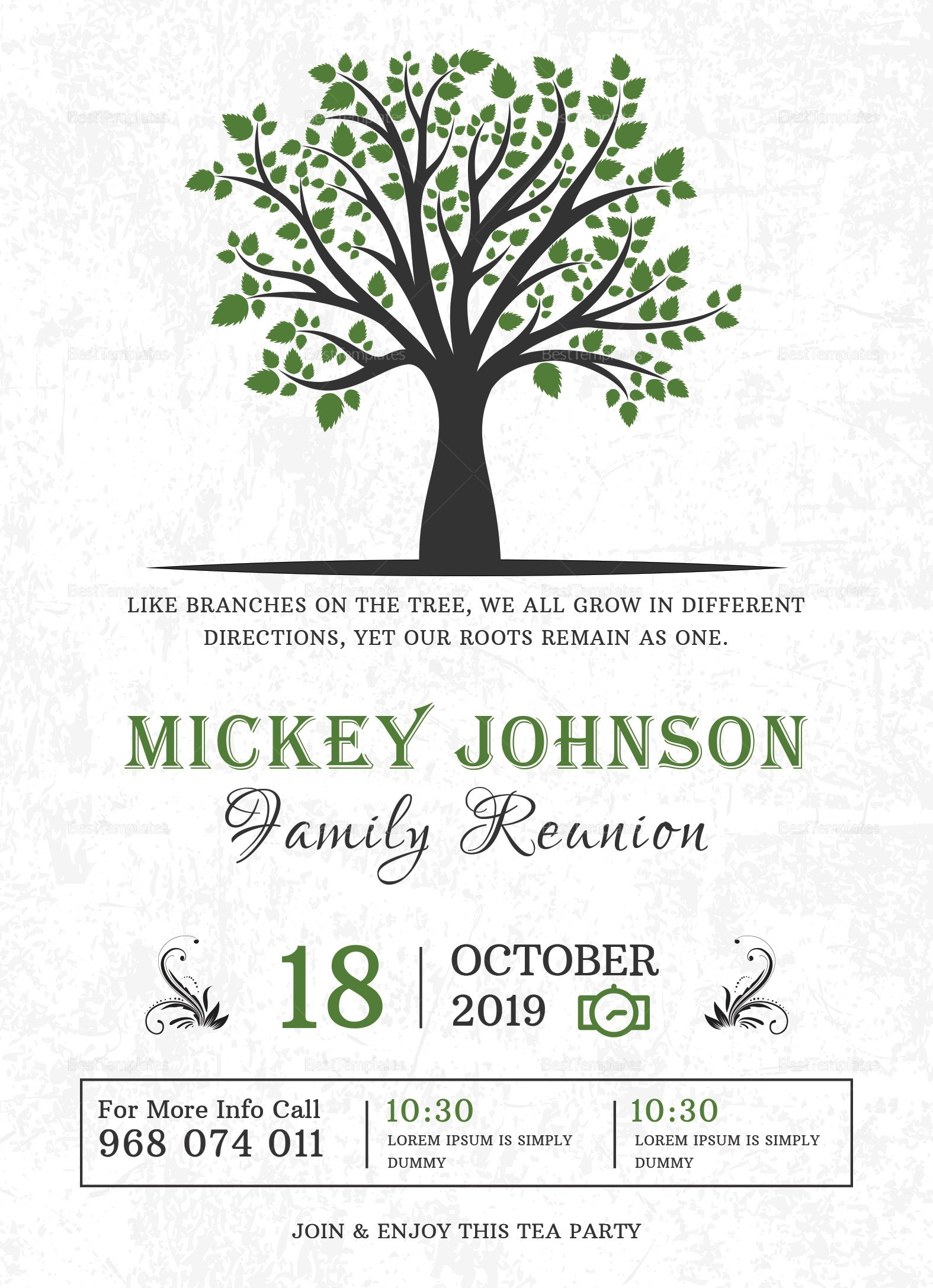 Family Reunion Invitations Templates Classic Family Reunion Invitation Design Template In Word