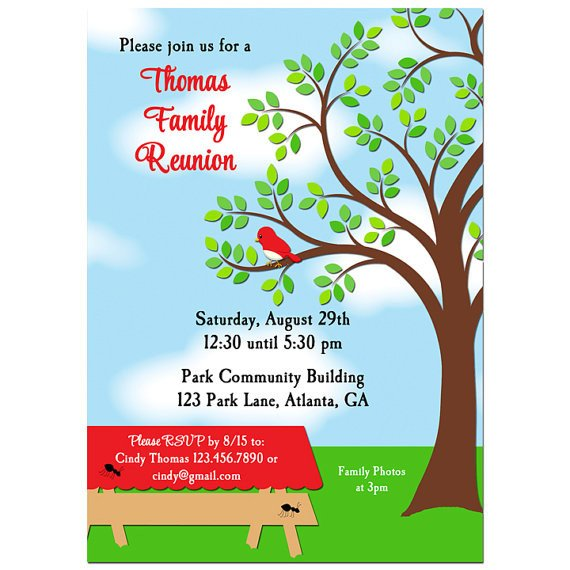 Family Reunion Invitations Templates Family Reunion Picnic Bbq Park Invitation Printable or