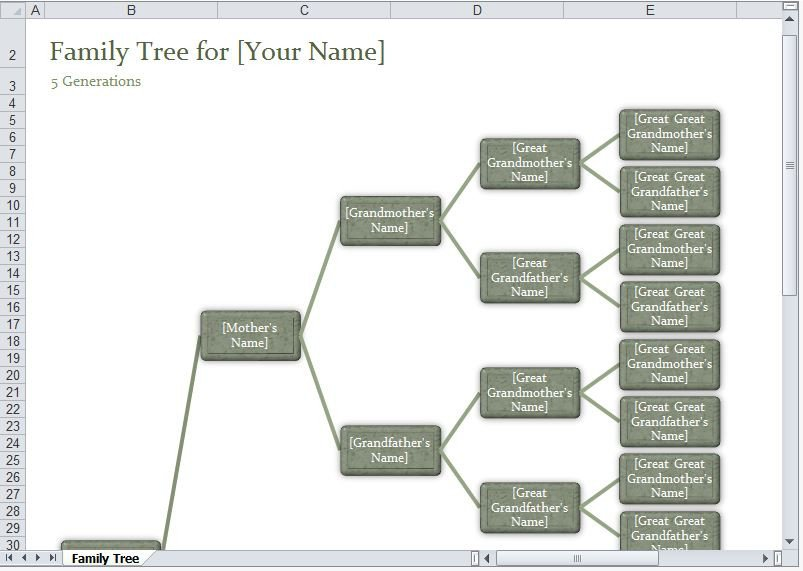 Family Tree Templates Excel Family Tree Template Excel