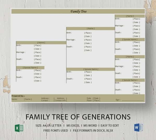 Family Tree Templates Excel Simple Family Tree Template 25 Free Word Excel Pdf