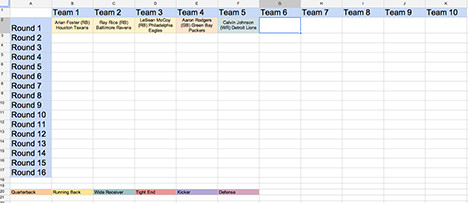 Fantasy Football Draft Spreadsheet Template Download Football Draft Sheet Template Free Filecloudlove