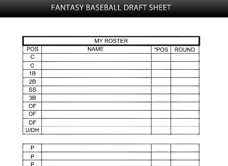 Fantasy Football Draft Spreadsheet Template Fantasy Baseball Mock Draft