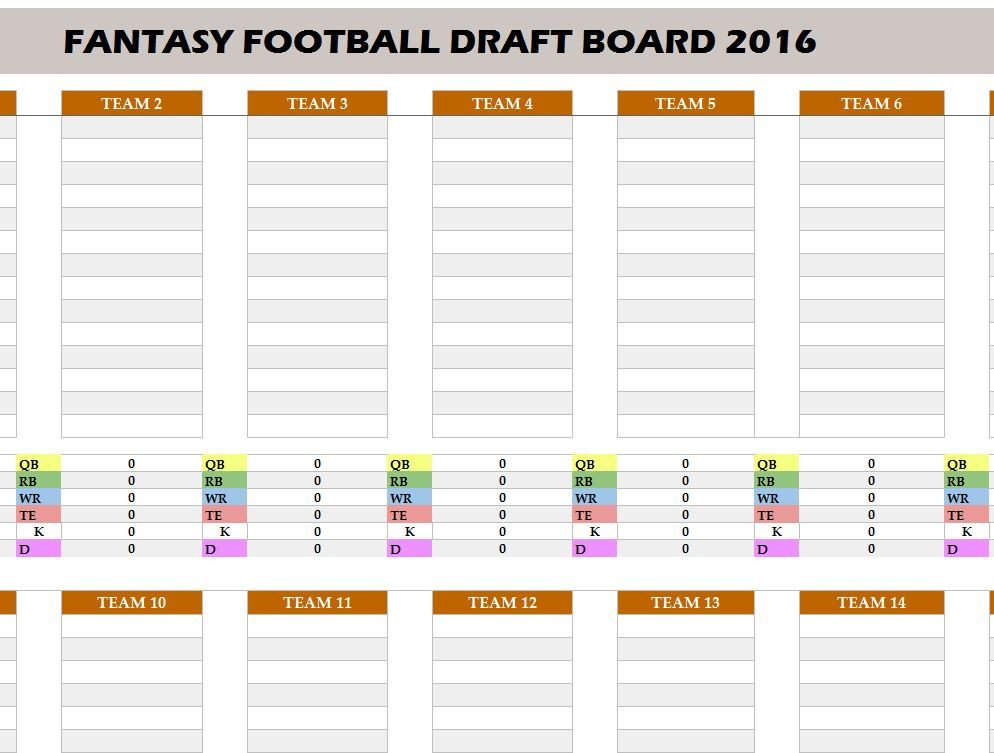 Fantasy Football Draft Spreadsheet Template Fantasy Football 2016 Draft Board My Excel Templates