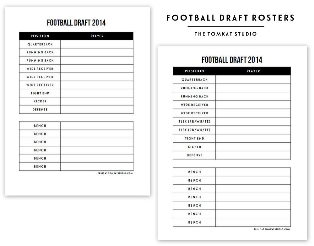 Fantasy Football Draft Spreadsheet Template Free Printable Football Roster