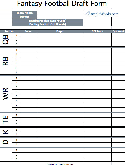 Fantasy Football Draft Spreadsheet Template Printable Fantasy Football Draft form