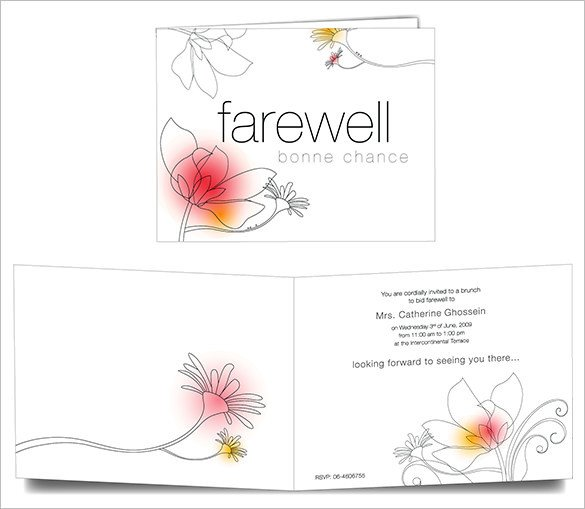 Farewell Invitation Template Free 16 Farewell Card Template Word Pdf Psd Eps