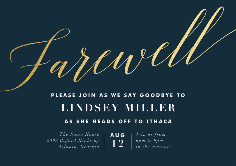 Farewell Party Invitation Template Free Final Farewell Invitations In Blue