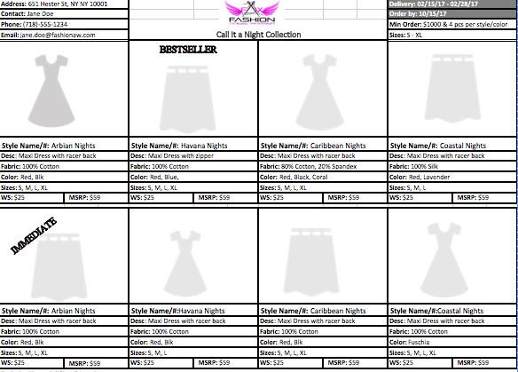 Fashion Line Sheet Template Line Sheet Template Fashion Angel Warrior