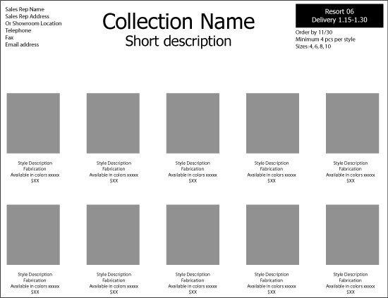 Fashion Line Sheet Template Line Sheet Template