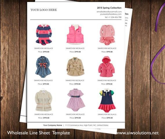 Fashion Line Sheet Template Vertical Line Sheet wholesale Catalog Template Mini Product