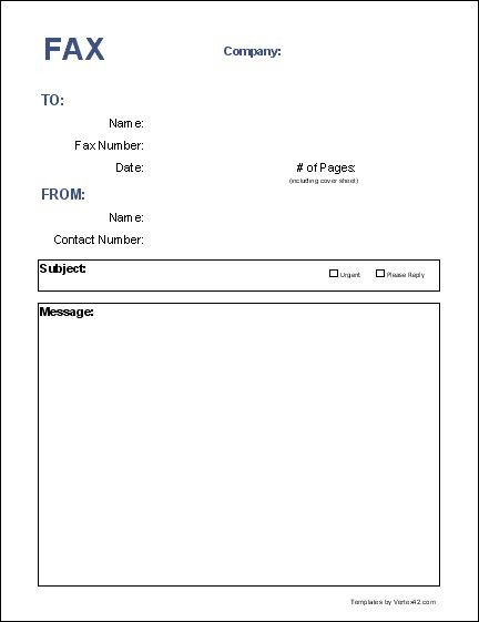 Fax Cover Letter Template Blank Fax Cover Page