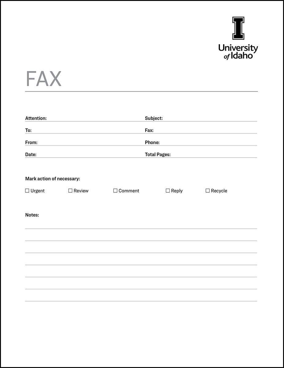 Fax Cover Letter Template Fax Cover Sheet Brand Resource Center University Of Idaho