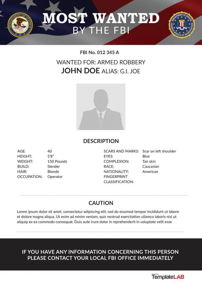 Fbi Wanted Poster Template 29 Free Wanted Poster Templates Fbi and Old West