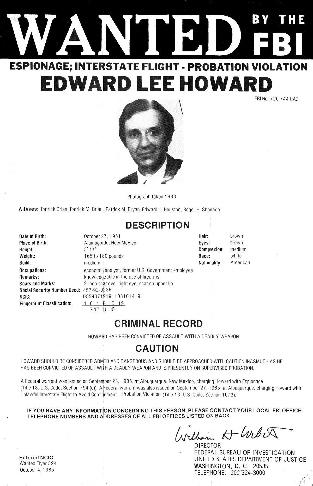 Fbi Wanted Poster Template Edward Lee Howard