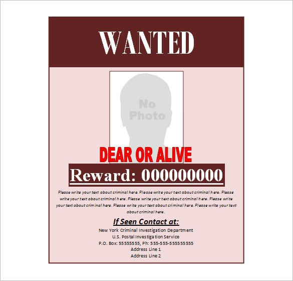Fbi Wanted Poster Template Wanted Poster Template – 53 Free Printable Word Psd