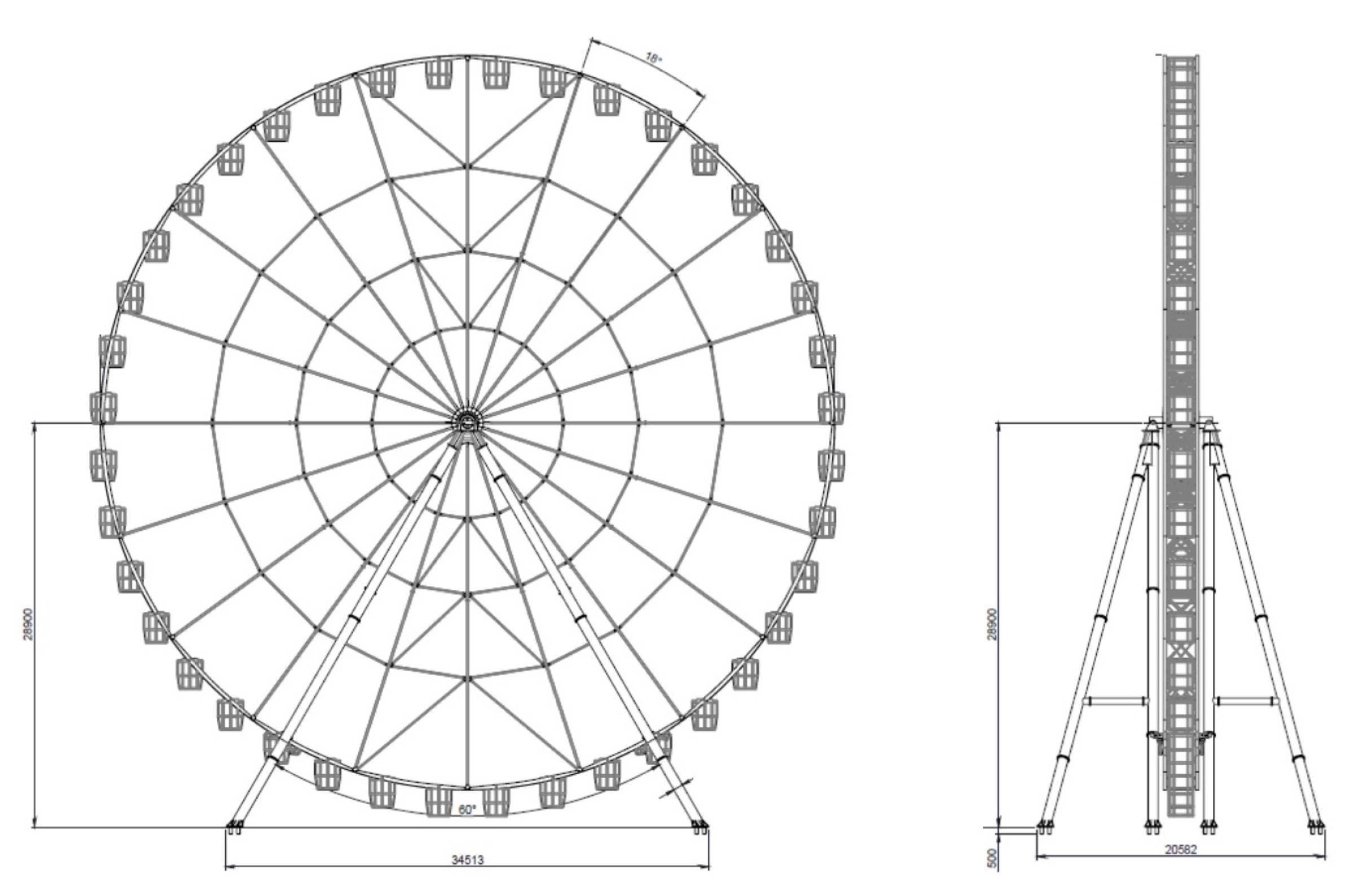 Ferris Wheel Template Ferris Wheel 60mt Technical Park Amusement Rides and
