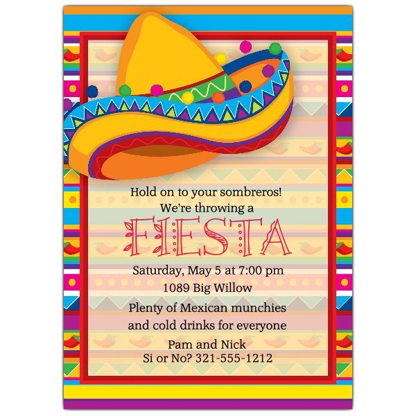 Fiesta Invitations Templates Free Big sombrero Fiesta Invitations
