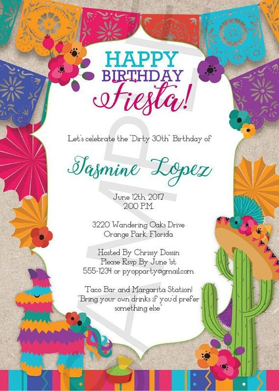 Fiesta Invitations Templates Free Birthday Fiesta Mexican Style Party Invitation Template