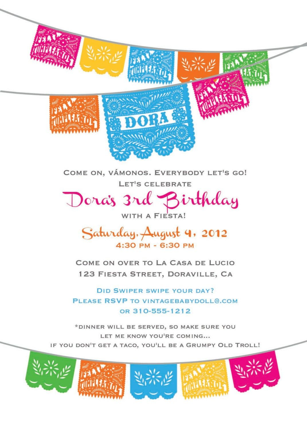 Fiesta Invitations Templates Free Dora Birthday Fiesta Invitation Cinco De Mayo by