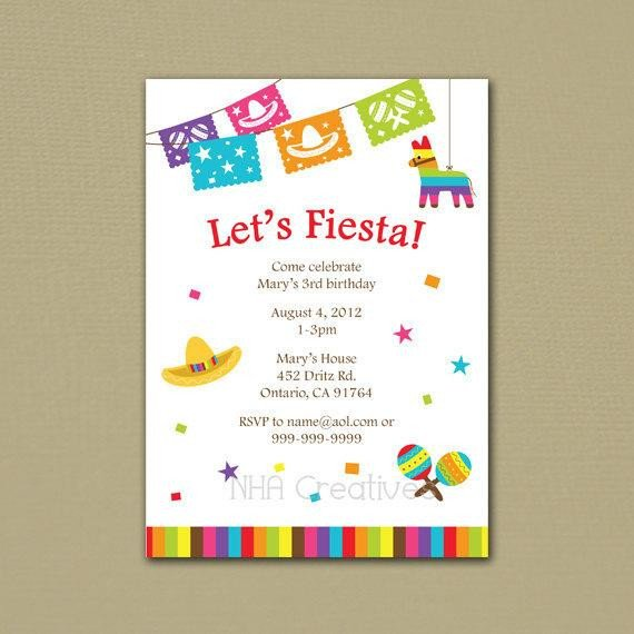 Fiesta Invitations Templates Free Fiesta Birthday Invitation Personalized Diy Printable