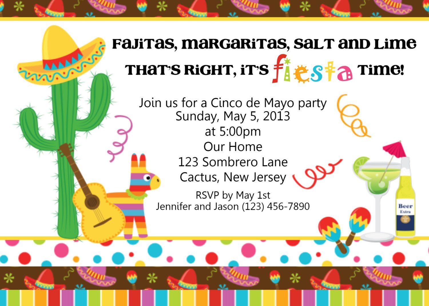 Fiesta Invitations Templates Free Fiesta Cinco De Mayo Invitation Personalized Custom